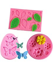 3 Pack Fondant Molds Daisy Flower Mold Butterfly Molds Leaf Mould Polymer Clay Molds Non Stick Silicone Chocolate Molds for Cake Sugarcraft Decorating by RuiChy