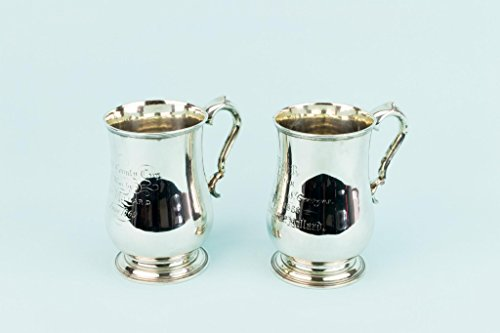 Lavish Shoestring 2 Silver Plated Trophy Tankards Engraved Inscribed Sport Prize Victorian Antique English 1860s (Tankard Victorian)