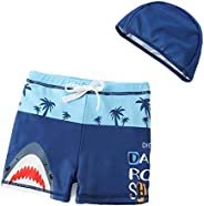 Kids Blue Shark Swim Trunks Cute Swim Shorts Boys Flat-Front Swimsuit with Swim Cap