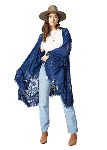 - Band Of Gypsies Boho Chic Camila Embroidered Lace Fringe Kimono Navy/Lace M/L