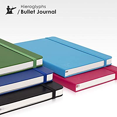 tama/ño A5, con instrucciones en alem/án, papel blanco marfil, tapa dura, bolsillo interior, cierre el/ástico y marcap/áginas Cuaderno Jeroglyphs Bullet Journal color negro