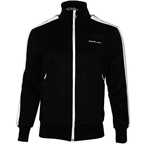 Replay Twin Stripe Men's Track Jacket, Black Small