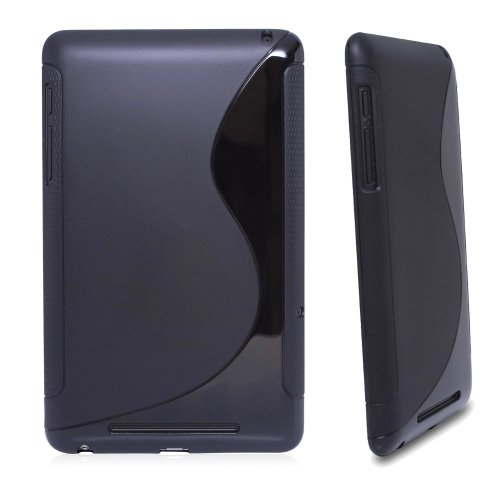 Importer520 S-Line TPU Case Cover for Google Nexus 7-Inch Tablet Android 4.1 Jelly Bean - Black - Jelly Bean Case