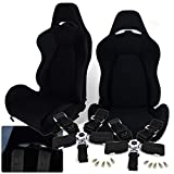 AJP Distributors JDM Type-R Fully Cloth Reclinable Bucket Racing Comfort Seat Upholstery Performance Track Seats + 2x Black 5 Point Harness Safety Seatbelt Set Pair Upgrade Replacement