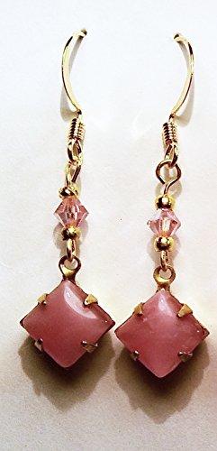 Moonstone Vintage Earrings (Rose Moonstone Vintage Czech Rhinestone with Rose Swarovski Crystal Earrings)