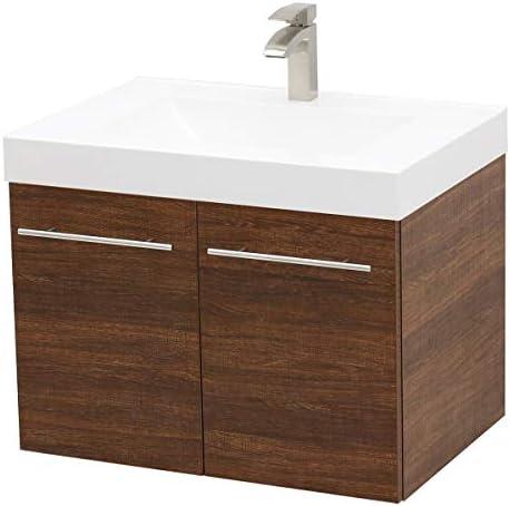 WindBay Wall Mount Floating Bathroom Vanity Sink Set. Rustic Brown Vanity
