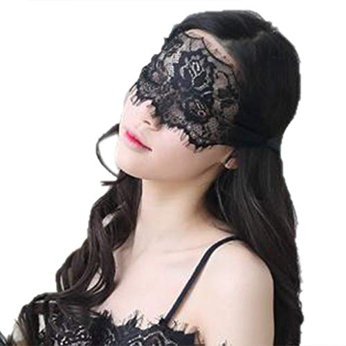 JAGENIE Sexy Nightwear Womens Sexy Semi See-Through Floral Lace Eye Mask Hollow Out Eyelash Trim Solid Color Cosplay Lingerie Wide Eyepatch with Ribbon Party Costume -