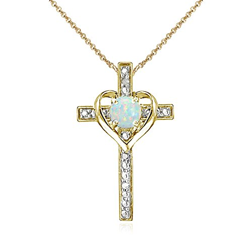 Yellow Gold Flashed Sterling Silver Simulated White Opal Cross Heart Pendant Necklace for Girls, Teens or Women