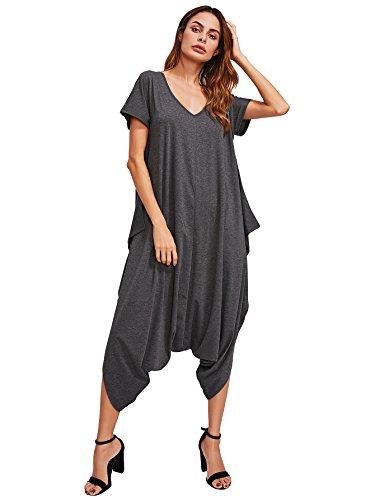 SheIn Women's Casual V Neck Short Sleeve Loose Harem Jumpsuit Romer Large Dark Grey ()