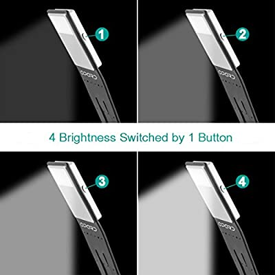 Ultrathin LED Book Light Dimmable Reading Light USB Rechargeable Light 4-Level Adjustable Brightness Flexible Reading Lamp Clip On for Book Ipad and More