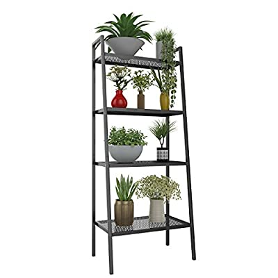 Miageek Metal 4 Shelf Bookcase, Multifunctional Ladder-Shaped Plant Flower Stand Rack Bookrack Storage Shelves (Black) - GOOD MATERIAL: Made of high quality sturdy iron material, this 4 tier bookcase is stable, durable, non-toxic, and with surface paint treatment, making the shelf looks more stylish and generous. NICE AND PRACTICAL RACK: Stylish and durable bookcase, sleek design, metal trapezoid construction, support up to 66lbs of evenly distributed weight. Design with adjustable feet perfectly keep the unit balanced, and several protection pads on the back prevent walls from scratches. MULTIFUNCTIONAL: This storage rack is suitable to be placed in the hall, living room, bed room, balcony,etc. And with the 4-tier open shelving unit gives you ample area for placing toiletries, towels, sundries, shoes, books, plants, spice, or organizing books, office supplies, photo frames and other objects. - living-room-furniture, living-room, bookcases-bookshelves - 41X67RY3pxL. SS400  -