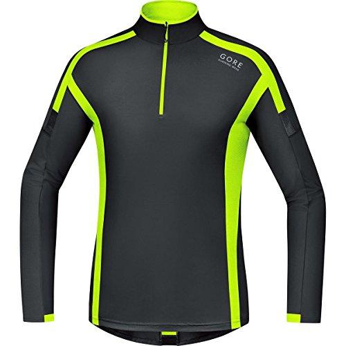 GORE RUNNING WEAR Herren Langarm-Laufshirt, GORE Selected Fabrics, AIR Zip Shirt long, Größe M, Schwarz/Neon Gelb, SMZAIR