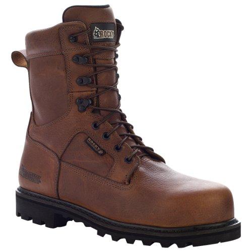 Rocky Men's Exertion 8' Dark Brown Waterproof Steel Toe Leather Boots 13 M