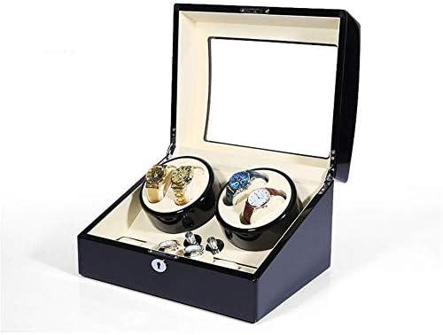 時計ワインダーボックス4 + 出荷  新作製品 世界最高品質人気 6自動時計用時計ワインダーディスプレイ5モード木製収納ケースピアノペイントブラック