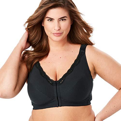 Comfort Choice Women's Plus Size Front-Close Cotton Wireless Posture Bra - 54 G, Black