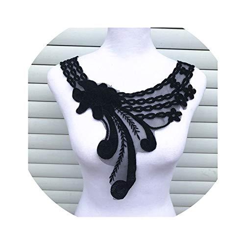 1Pcs Black Fine Venise Lace Fabric Dress Applique Blouse Sewing Trims DIY Neckline Collar Costume Decoration Accessories,Black 16