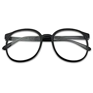 Sunglass Stop - Extra Large Oversize Round Vintage Clear Lens Retro Black Glasses (Black, Clear)