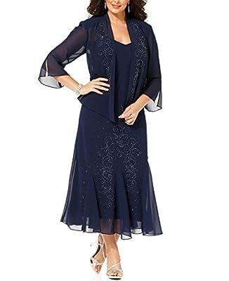 R&M Richards Women's 14W- 34W Plus Size Beaded Jacket Dress - Mother of The Bride Dresses