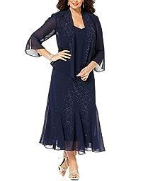 R&M Richards Women\'s Plus Size Beaded Jacket Dress - Mother of the Bride Dresses (22W, NAVY)