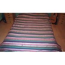 Moroccan Stripey Throw, Handwoven. Cotton, Wool and Sabra Silk. æMarrakech SunriseÆ