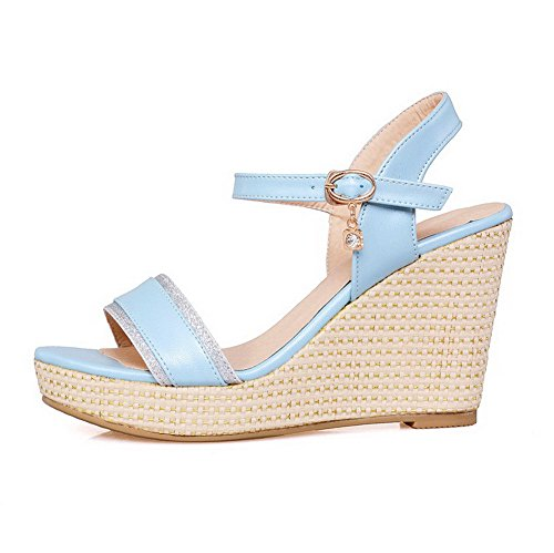 Allhqfashion Donna Open Toe Gattini Morbidi Sandali Con Fibbia In Materiale Solido Blu