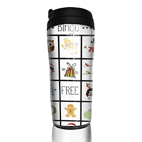 Coffee Cups Christmas Bingo Cards Travel Tumbler Insulated Leak Proof Drink Containers Holder Special 12 Ounces