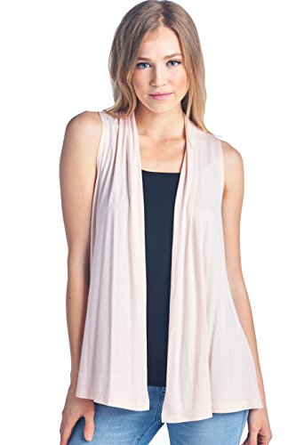 ReneeC. Women's Extra Soft Natural Bamboo Sleeveless Cardigan - Made in USA (Large, Pink)