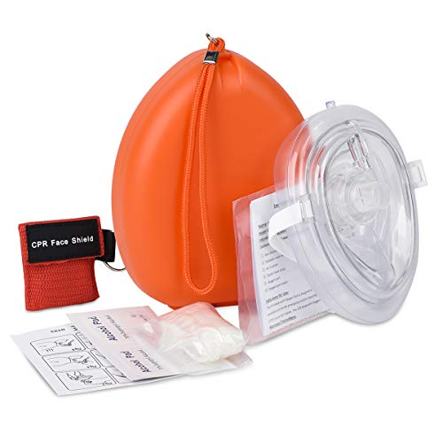 CPR Mask with Bonus CPR Face Shield, SUNYAO Pocket Resuscitator - Orange Hard Case with Wrist Strap, Include Gloves and Alcohol Pads, FDA ()