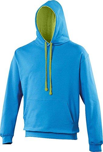 AWDis Unisex Erwachsene Oberbekleidung Winter Kapuzenpulli Zieh Über Uni Kapuzenpulli - Saphir Blau/ Hellgrün, XL
