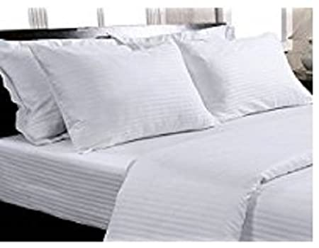 Trance Home Linen Cotton Satin Stripe Large Pillow Covers (20 X 30 Inch, White)