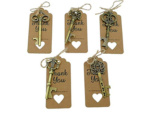 50pcs Skeleton Key Bottle Opener Wedding Party Favor Souvenir Gift with Thank You Escort Tag Card and Jute Rope(Bronze Keys with 5 Styles)