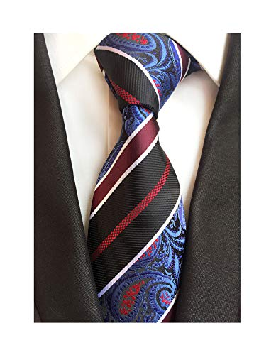 Classic Black Blue Burgundy Striped Tie Woven Jacquard Silk Men