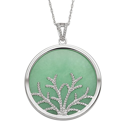 Sterling Silver Natural Green Jade Tree of Life Pendant Necklace,18