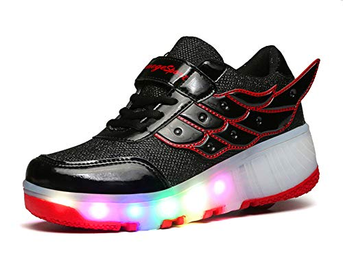 led Shoes Colorful LED Children's Luminous Skates(,red,40)
