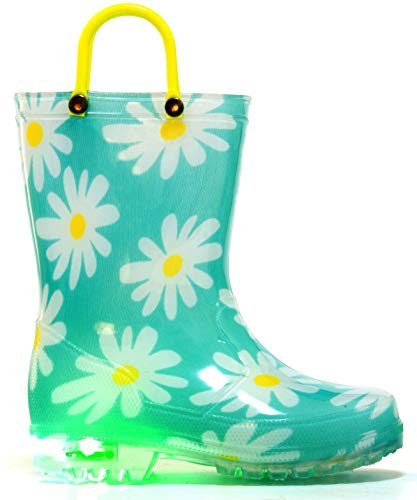 MOFEVER Kids Rain Boots Toddler Girls Light Up Printed Waterproof Shoes Lightweight Cute Flower Aqua with Easy-On Handles and Insole (Size 3,Blue)