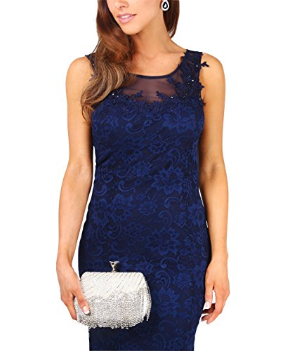 KRISP Vestido Fiesta Mujer Largo Gasa Primavera Ceremonia Noche Boda Talla Grande Azul Marino (5030)