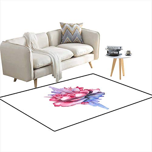 (Extra Large Area Rug Watercolor Rose Vignette decoratewi Crystals 3'x18')