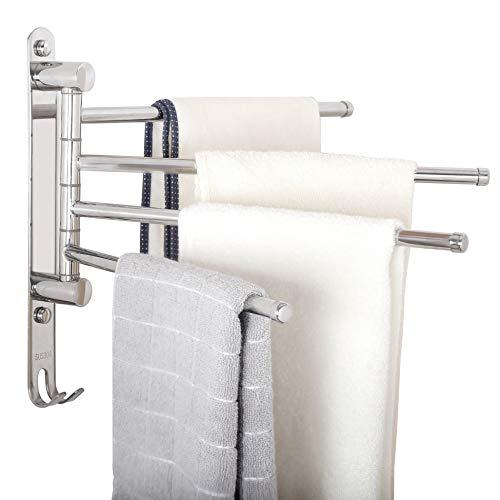 WEBI Swivel Towel Bar - Stainless Steel, 4-Arm,Space Saving- Swing Out Towel Rack Hanger Holder,Wall Mount,Polished Finish ()