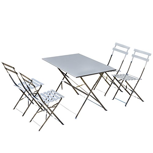 Outsunny 5 Piece Outdoor Metal Folding Table and Chairs Set - Grey (Used Garden Table And Chairs)