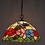 12-inch Tiffany Style Chandelier Stained Glass Pendant Lights Living Room Bedroom Restaurant Decoration Pendant Ceiling Lights E27