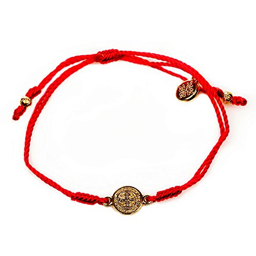 My Saint My Hero Breathe Blessing Bracelet Gold Plated Medal on Red Hand Woven Cord