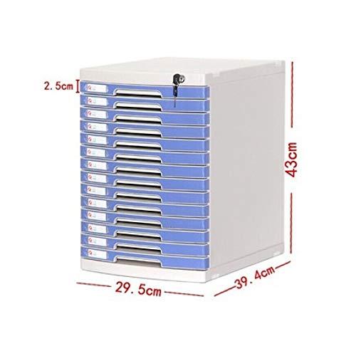 Bxwjg Desktop File Cabinet 14-Layer with Lock Plastic Drawer Information Office A4 Storage Grey,29.5 39.4 43cm (Color : B1)
