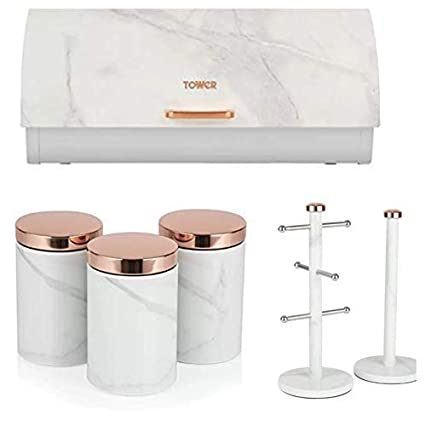 Tw Tower Set Of 6 Rose Gold White Marble Effect Tower Stylish