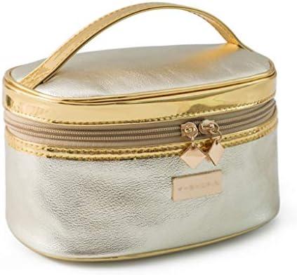 化粧品収納ボックス ポータブル化粧品収納ボックス大容量化粧品バッグスタイリングスーツケースレザー素材ゴールドシルバー DWWSP (Color : Silver)