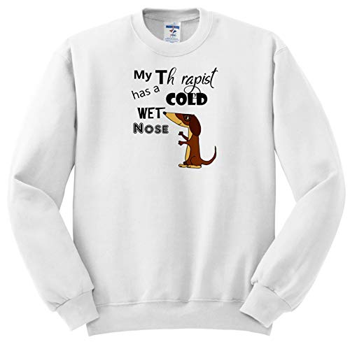 All Smiles Art Pets - Funny My Therapist has a Cold Wet Nose Dachshund Dog - Sweatshirts - Youth Sweatshirt Med(10-12) (ss_287953_11) (My Dog Has A Cold Wet Nose)