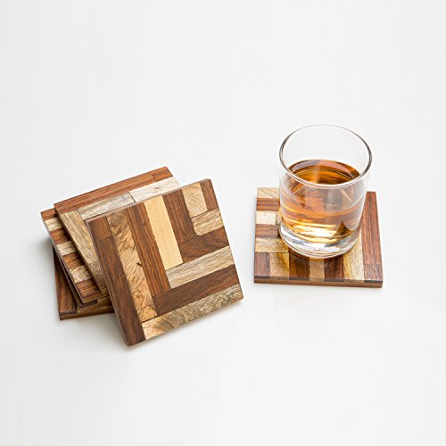 Rusticity Cool Wood Coaster Set of 6 f- Isocentric Design | Handmade | (4x4in) ()