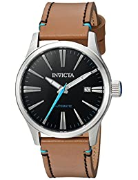 Invicta Men's 'I-Force' Automatic Stainless Steel and Leather Casual Watch, Color: Brown (Model: 22945)