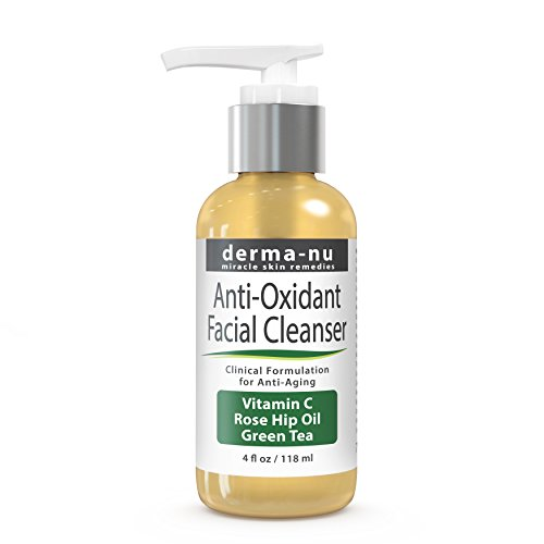 Anti Aging Cleanser by Derma-nu – Natural Face Wash – Facial Cleanser for Women. Loaded with powerful Antioxidants: Vitamin C, Green Tea & Rose Hip Oil to get rid of wrinkles. 4oz