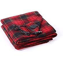 Moxava Warm Portable Heated Fleece Electric 12V DC Car Blanket in Red Plaid