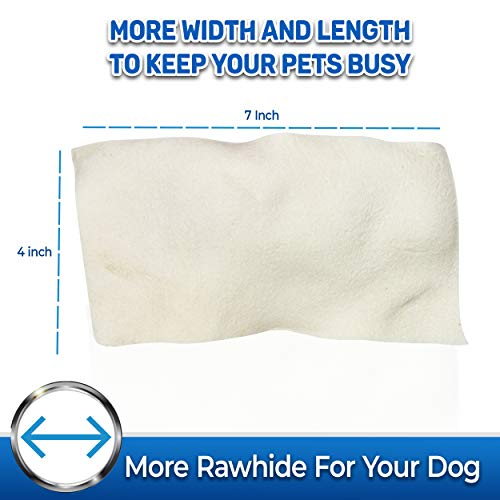 Pet Magasin Natural Rawhide Chips - Premium Long-Lasting Dog Treats with Thick Cut Beef Hides, Processed Without Additives Or Chemicals